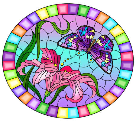 Illustration in stained glass style with a pink Lily flower and a bright purple butterfly on a blue sky background, ovql image in a bright frame Vettoriali