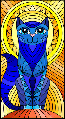 Illustration in stained glass style with abstract geometric blue cat and the sun on an abstract orange background Vettoriali