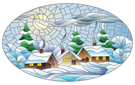 Illustration in a stained glass style with a winter landscape, cozy village houses against a snowdrift and a night sky with a moon, oval image