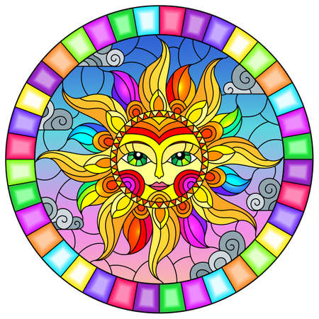 Illustration in the style of a stained glass window with abstract sun in bright frame, round image