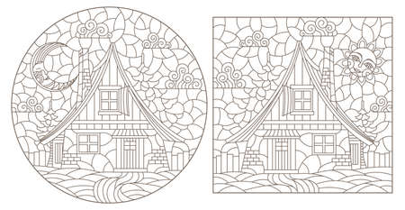 Set of contour illustrations in stained glass style with cozy rural houses on a background of fir trees and sky, dark contours on a white background