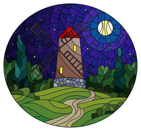 The image in the stained glass style landscape with a windmill on a background of starry night sky and moon, oval image