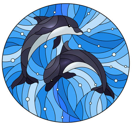 Illustration in the style of stained glass with two dolphins on a water background and air bubbles, oval image