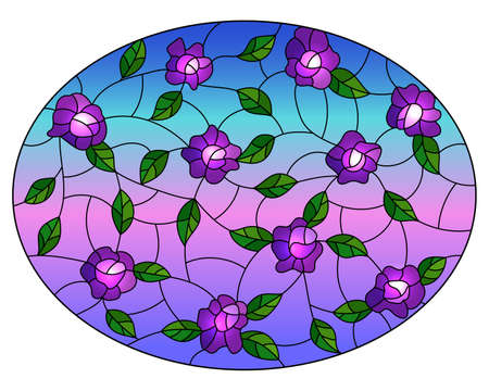 Illustration in the style of stained glass with intertwined purple flowers and leaves on a sky background, oval image Vettoriali