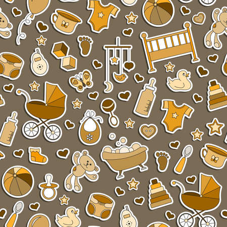 Seamless pattern on the theme of childhood and newborn babies, baby accessories and toys, simple stickers icons on brown background, monochrome, Sepia Vectores