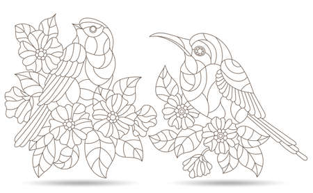A set of contour illustrations in the stained glass style with birds among flowers, figures isolated on a white background