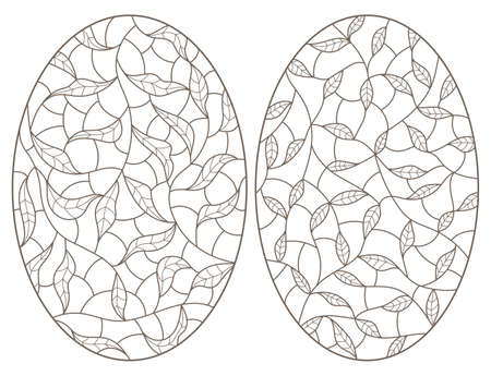 Set of contour illustrations of stained glass Windows with intertwined leaves, dark outlines on a white background, oval images