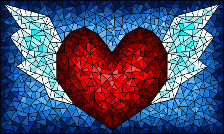 Illustration in stained glass style with an abstract heart with wings on a blue background, rectangular image Vettoriali