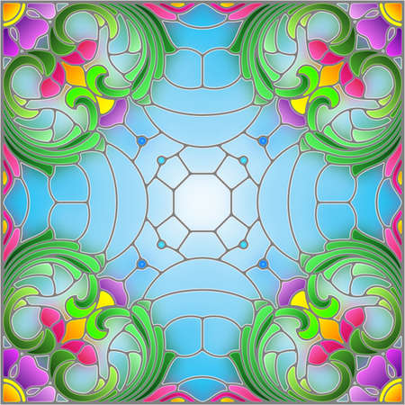 Illustration in the stained glass style with an abstract flower arrangement on a blue background, square image Stock Illustratie