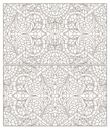 Set contour illustrations of stained glass with abstract swirls and flowers, horizontal orientation