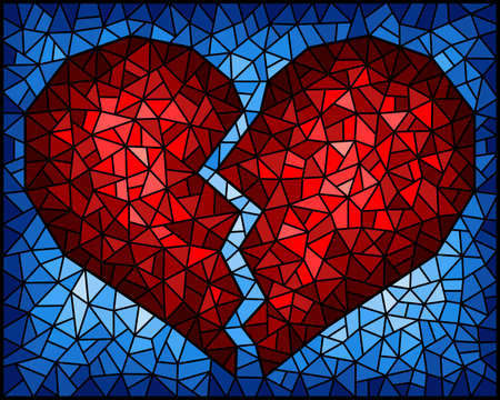 Illustration in stained glass style with an abstract red broken heart on a blue background, rectangular image