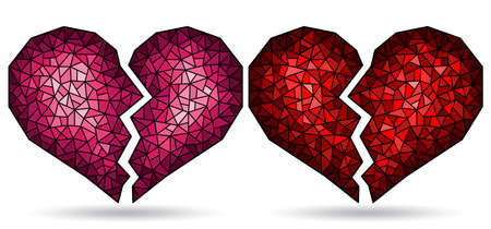 Set of illustrations in stained glass style with abstract broken hearts, isolated on a white background