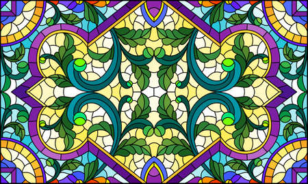 Illustration in stained glass style with abstract flowers, leaves and curls on a light background, rectangular horizontal image