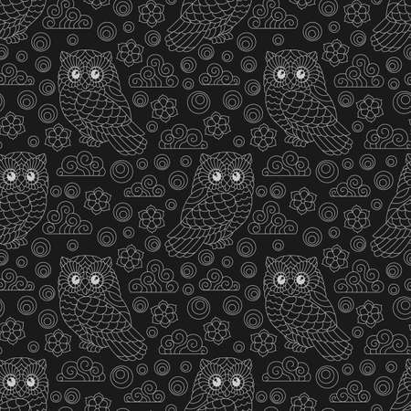 Seamless pattern with a cute contour owls, flowers and clouds, light outline birds on a dark background
