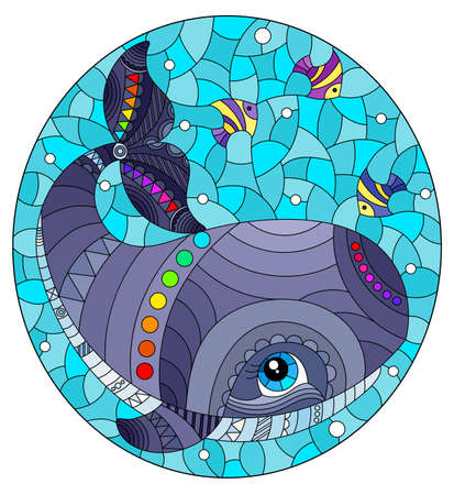 Stained glass illustration with an abstract cartoon gray whale and fish on a background of water and air bubbles, oval image Stock Illustratie