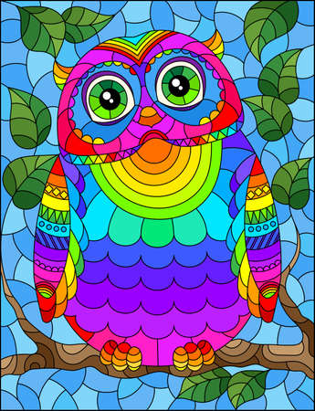 A stained glass illustration with a bright abstract owl on a background of tree branches and blue sky
