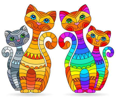 Set of stained glass elements with rainbow cats, isolated images on white background