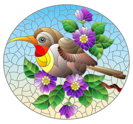 Illustration in the style of stained glass with a beautiful bright bird on a background of branch of tree with purple flowers and sky, oval image Stock Illustratie