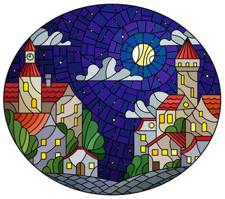 Illustration in stained glass style, urban landscape, roofs and trees against the starry nighr sky and moon, oval image