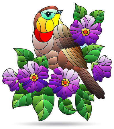 A stained glass illustration with a bright bird, purple flowers and leaves, isolated on a white background Stock Illustratie