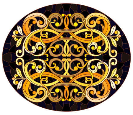 Illustration in stained glass style with floral ornament, imitation gold on dark background with swirls and floral motif, horizontal orientation, oval image