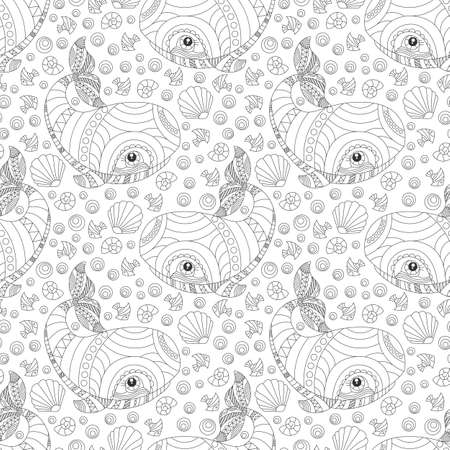 Seamless pattern with outline cartoon whales and fishes, contour animals on a white background