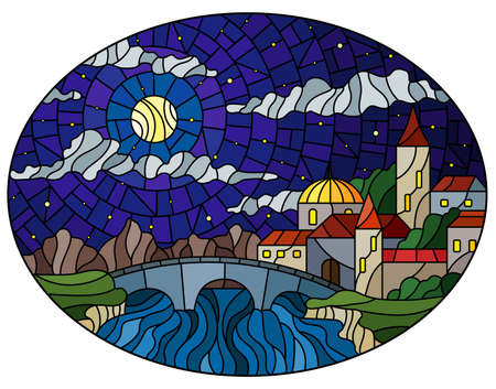 Illustration in stained glass style with the old town and bridge over a river with mountains on the background of starry sky and moon, oval image