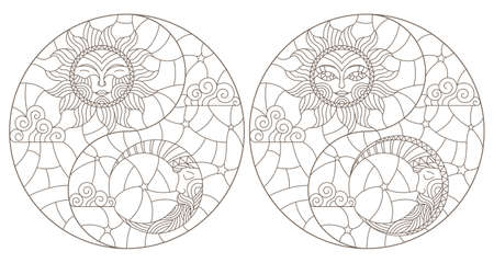 A set of contour illustrations in a stained glass style with the sun and moon, dark outlines on a white background