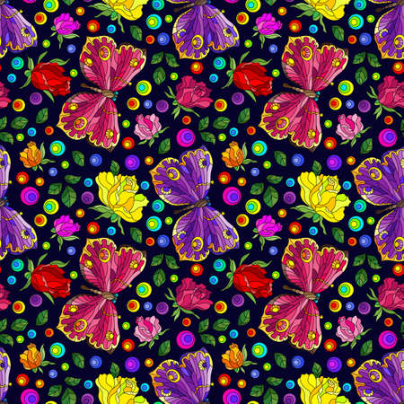 Seamless pattern with rose flowers and butterflies, bright flowers and insects on a dark background