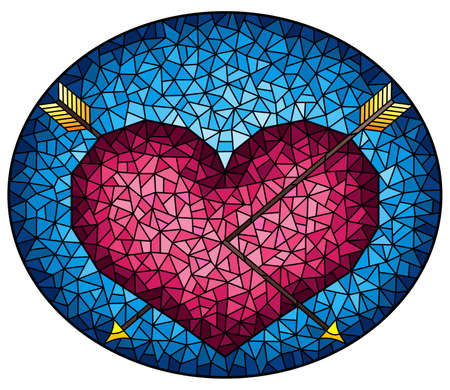 Illustration in stained glass style with an abstract pink heart pierced by arrows on a blue background, oval image Stock Illustratie