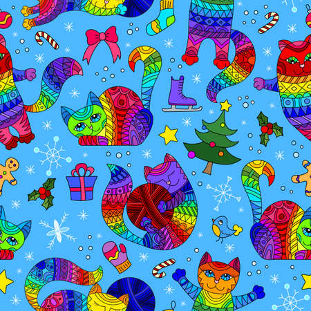 Seamless pattern on the theme of new year and Christmas with bright cats and toys on a blue background Stock Illustratie
