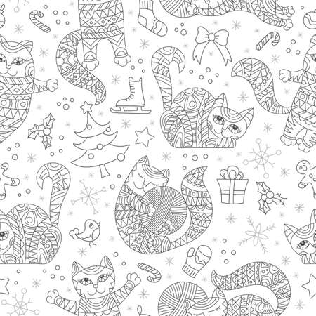 Seamless pattern on the theme of new year and Christmas with cats and toys, dark contours on a white background