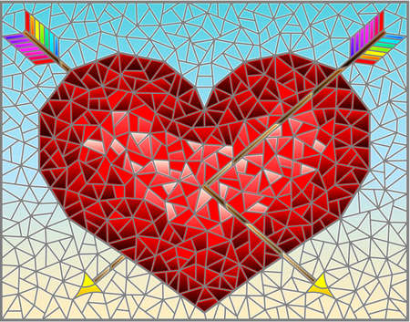 Illustration in stained glass style with an abstract red heart pierced by arrows on a blue background, rectangular image 矢量图像