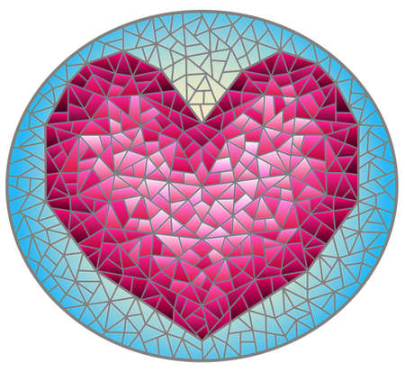 Illustration in stained glass style with an abstract pink heart on a purple background, oval image 免版税图像 - 163882016