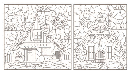 Set of contour illustrations in stained glass style with cozy rural houses on a background of fir trees and sky, dark contours on a white background, rectangular images
