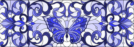 Illustration in stained glass style with a bright butterfly, flowers and swirls light background, horizontal illustration, tone blue 矢量图像