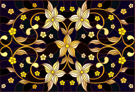 Illustration in stained glass style with floral ornament, imitation gold on dark background with swirls and floral motif 矢量图像