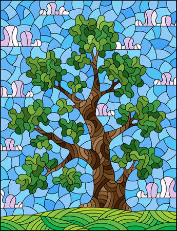 Illustration in the stained glass style with a green tree, against a background of a meadow and a blue cloudy sky, rectangular image