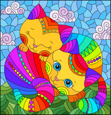 A stained glass illustration with a pair of cartoon cats in a meadow against a cloudy sky