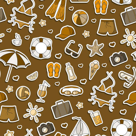 Seamless pattern on the theme of summer holidays in hot countries, simple icons patches on a brown background,, monochrome, tone brown