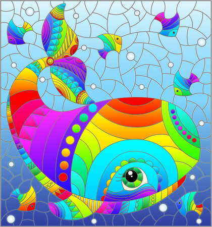 Stained glass illustration with an abstract cartoon rainbow whale and fish on a background of water and air bubbles