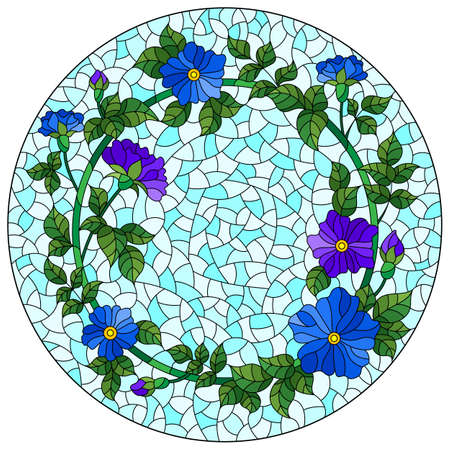 Illustration in the stained glass style with a wreath of bright flowers on a blue background, round image