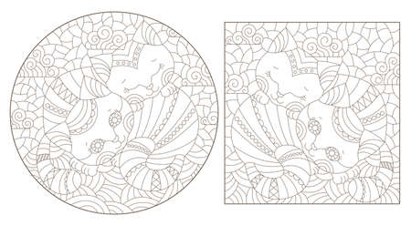 Set of contour illustrations in stained glass style with abstract cats, dark outlines on a white background