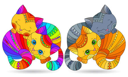 Set of stained glass elements with bright rainbow cats, isolated images on white background