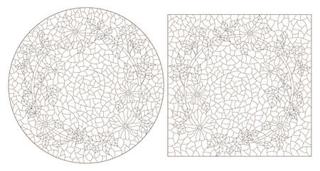 Set of contour illustrations in stained glass style with flower wreaths, dark outlines on a white background 免版税图像 - 163881602