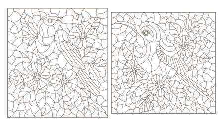 Set of contour illustrations in stained glass style with cute birds and flowers, dark outlines on a white background, rectangular images