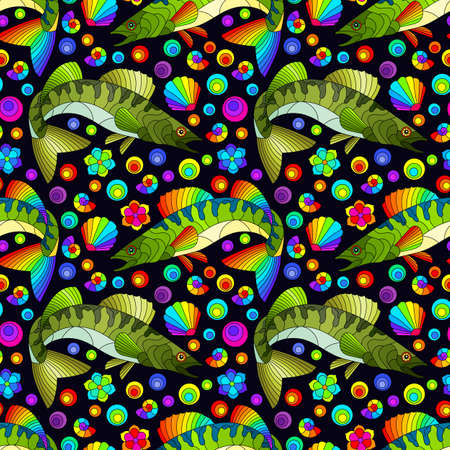 Seamless pattern with abstract bright fishes and shells on a dark background 矢量图像
