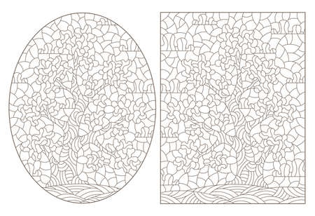 Set of contour illustrations in stained glass style with abstract trees, dark outlines on a white background