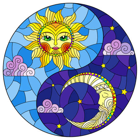 Stained glass illustration with the sun and moon in the shape of the Yin yang sign, round image 矢量图像
