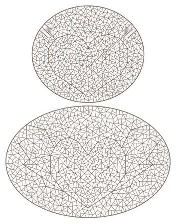 Set of contour illustrations with abstract hearts, dark outlines on a white background